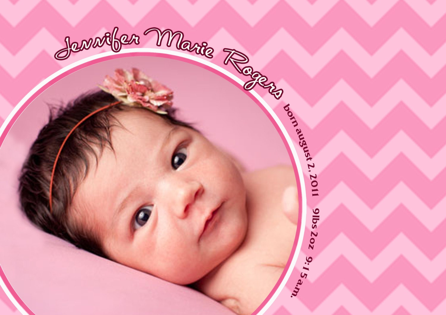 baby girl birth announcement pink baby birth announcement