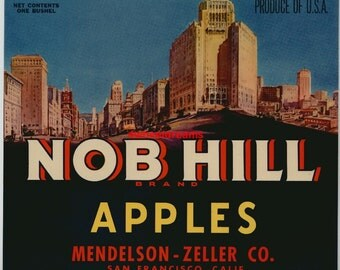 1940s Nob Hill San Fran Cable Car Original Apple Crate Label