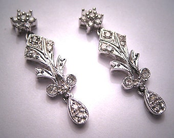 Vintage Diamond Earrings Antique Art Deco Style White Gold