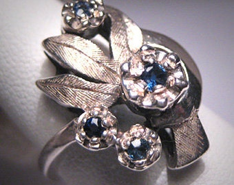 Antique Sapphire Ring Vintage Wedding Art Deco Floral