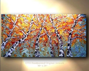 Original Landscape AspenTree Painting Abstract Art treescape artwork 48x24 Modern Contemporary mixed media by OTO