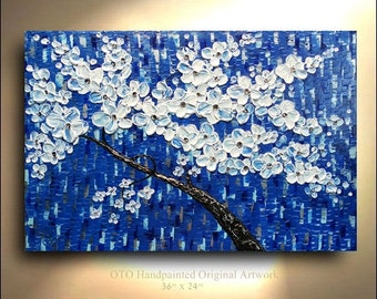 ORIGINAL Blue Silver Sapphire Flower Tree Painting 36x24 Abstract Landscape Artwork Flowerscape Textured Modern Contemporary art by OTO