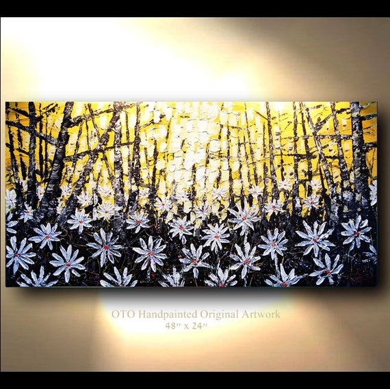Sale ORIGINAL White Daisy Flower Forest Painting Abstract Landscape Artwork Flowerscape Heavy Textured 48x24 Modern Contemporary art by OTO