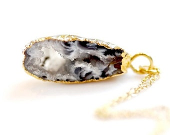OOAK Agate Geode Gold Plated Druzy Necklace -14-