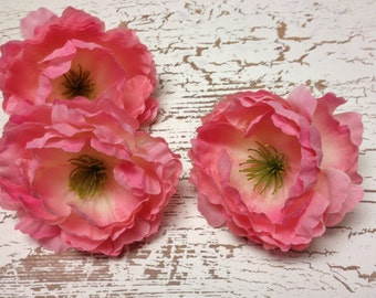 Silk Flowers -THREE Small Pink Peonies  - 3 Inches - Budget Artificial Flowers