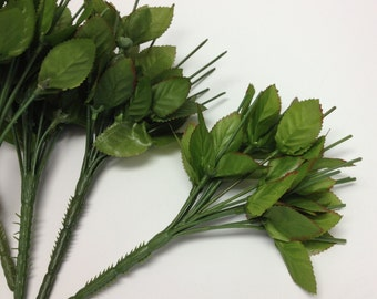 Artificial Flowers - FIVE Mini Bouquets with Budget Quality Rose Leaves - Silk Flower Bouquets