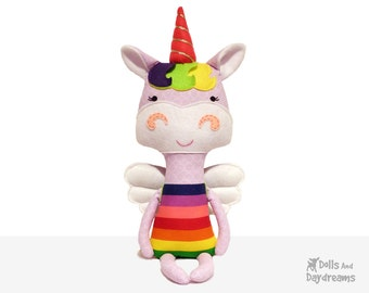 Unicorn Sewing Pattern PDF Flying Pegasus Pony Softie - removable wings included