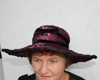 hot pink black wide brim hat