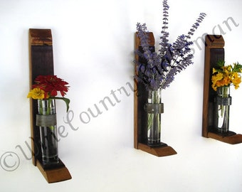 "VESSEL - ""Galeola"" - Set of 3 Wall Hanging Wine Barrel Flower Holders  - 100% Recycled"
