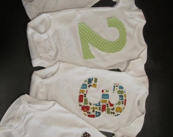 Baby's First Year Monthly Numbers Iron On Appliques 1-12 Months