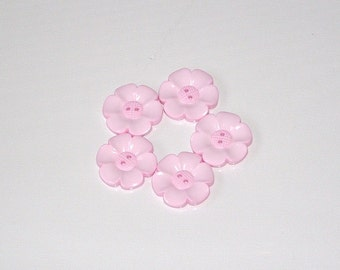 Lot of 5 Flower Buttons - 40mm-  Baby Pink