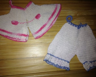Vintage White and Pink Blue Hand Crocheted Doll Pants  doll clothes fit 8 inch around doll