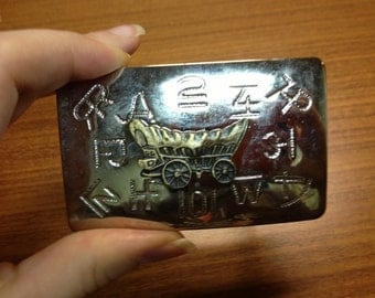Vintage Belt Buckle Silver Metal with Old West Buggy Carriage with Brand Stamps