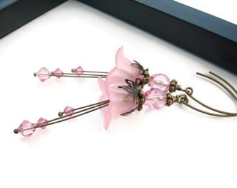 Pink Flower Earrings, Lucite Flower Earrings, Vintage Inspired with Antique Brass, Romantic Victorain Style Earrings