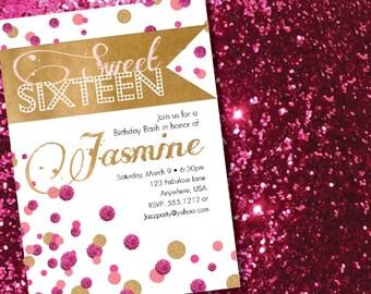 DIY Printable Modern Gold and Pink Sweet Sixteen Birthday Invitation