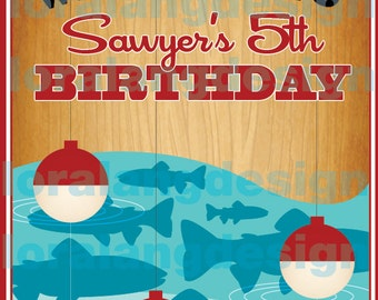 DIY Printable Retro Fishing Birthday Party Sign