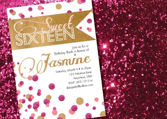 DIY Printable Modern Gold and Pink Sweet Sixteen Birthday – Sixteen Birthday Invitations