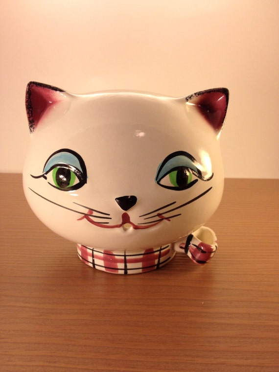1950s Holt Howard Ceramic Cat Head String Holder Wall