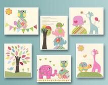 Nursery print, Baby girl Room Decor, Nursery Art, Set of 6 5x7...match the colors daisy bedding, kids room art, pink, blue, green, yellow