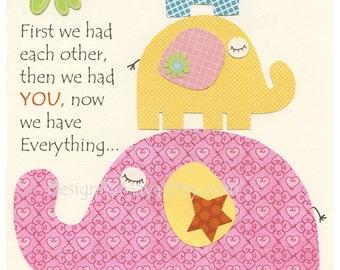 Baby room wall art, Nursery Decor, Baby Elephant,  Baby girl nursery, Kids room Print, Nursery wall Art Decor,First we had