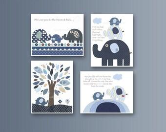 Baby boy Room Decor, Nursery wall art, baby elephant, blue, white, gray, children decor, kids wall art, baby art harper, set 4 wall prints