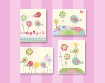 Baby Room Decor, Savannah Nursery, baby Art Prints, Brooke bedding, Kids Wall Decor, Daisy, Key west, pink Blue Green,4 prints, Dottie Crib
