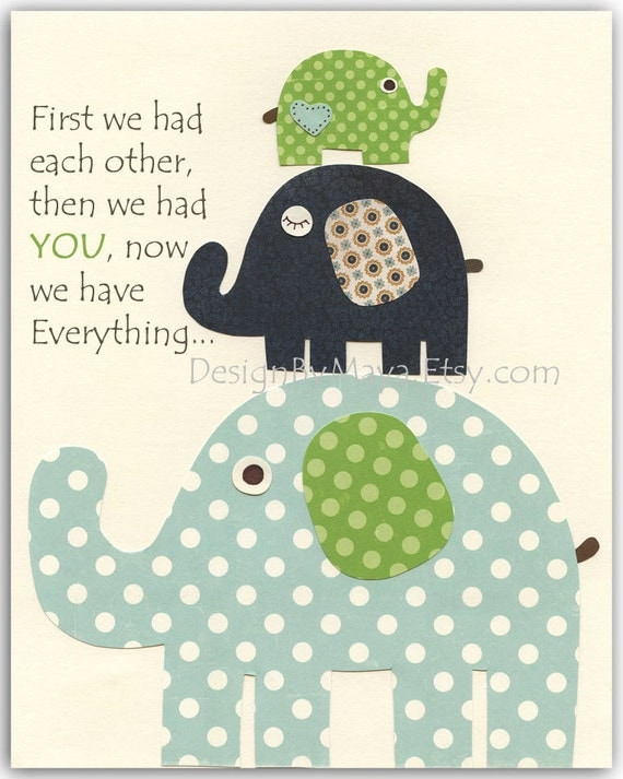 Baby room, Nursery wall art, Decor Art for Kids, elephant..Blue, Green,navy blue, aqua, first we had...