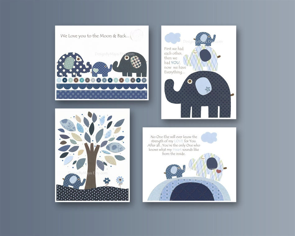 Baby Boy Room Decor Nursery Wall Art Baby Elephant Blue