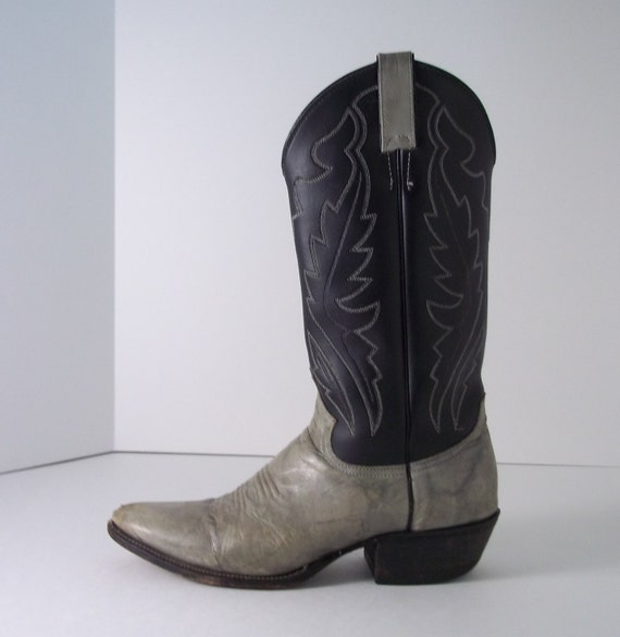 Vintage Cowboy Boots Justin Clearance Sale Two Tone Black