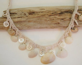 Sea Shell and Button Necklace