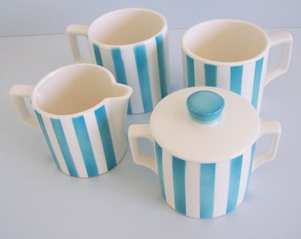 Vintage Blue and White Striped Cups with Sugar and Creamer