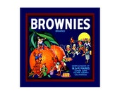 Small Journal - Brownies Brand Oranges  - Fruit Crate Art Print Cover