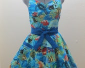 Limited Edition - Fishes and Sea Turtles - Treasure of the Sea- Apron- Ready to ship - AquamarCouture