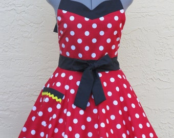 Minnie Mouse Apron- Sweetheart Hostess- With a hint of Black- Full of Twirl Flounce - Ready to ship