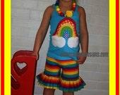 Rainbow Ruffle Shorts Set ... Rainbow Birthday Outfit - Infant Toddler Youth Girls