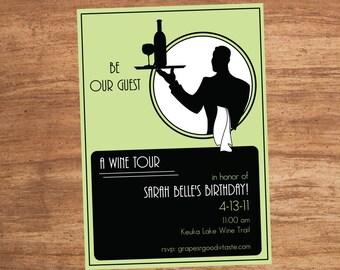 Art Deco Wine Tour Tasting Party Custom Printable Invitation Digital File