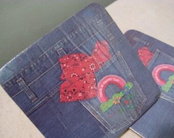 Vintage Have A Happy Day Coaster Set of 6 Denim Jean Pockets