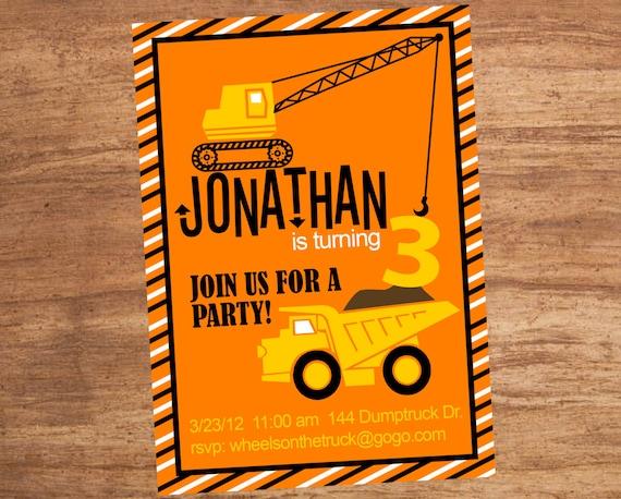 Construction Zone Site Custom Party Invitation