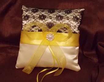 Ring bearer custom made pillow white or ivory satin and black lace any color ribbon