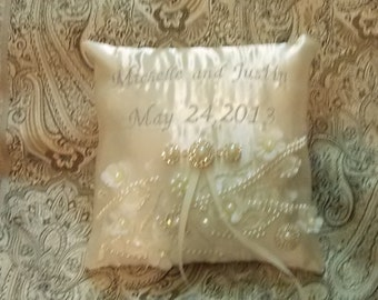 embroided your name pearls custom made pillow