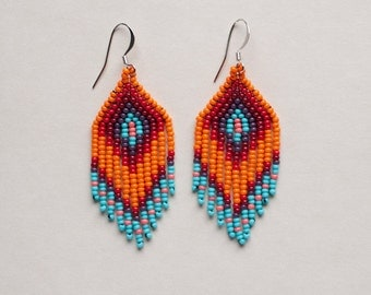 Chevron beaded earrings Native Style Short - Los Ojos