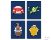 Transportation prints. Boys wall art for nursery and playroom. Kids decor, child decor. Plane, train, car SET OF ANY 4 prints by WallFry