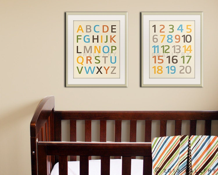 Alphabet Wall Decor Nursery : Modern alphabet nursery art prints wall abc