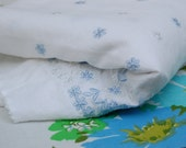 Vintage fabric with blue floral embroidery, 1950s supply with gorgeous detail