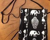 Tribal Print Biker Bag with adjustable leather strap