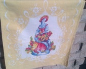 Vintage Dresser Scarf yellow and white cotton