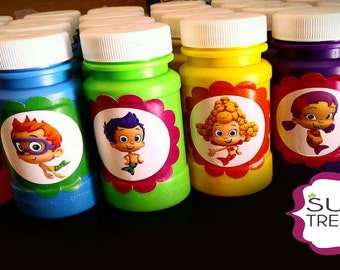 Set of  12 - Bubble Guppies Stickers  for Bubbles and other Party Favors