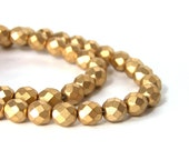 Metallic gold glass beads, matte finish 8mm faceted round, full strand (668G)
