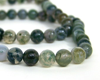 8mm Moss Agate beads, round natural gemstone, full & half strands available  (609S)