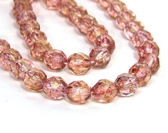 Faceted Czech Glass Beads, 8mm pink with golden brown luster, full & half strands available  (630F)